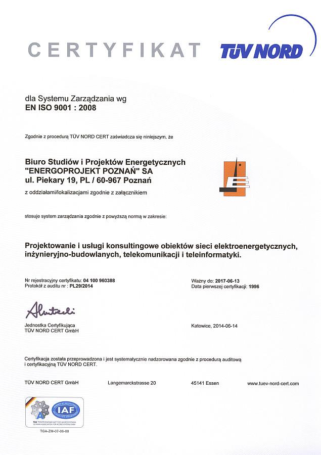Certyfikat TÜV NORD 9001